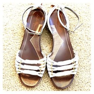 Sesto Meucci white leather sandals